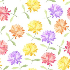 Embroidery design. Seamless pattern with colorful chrysanthemum flowers on white background.