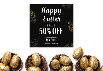Happy Easter Sale Banner Layout with Gold Glitter Eggs