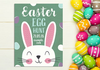 Easter Party Poster Layout with Cartoon Rabbits