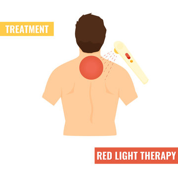 Back pain vector illustration. Red light therapy