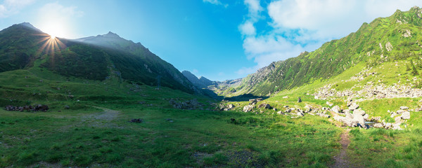 gorgeous valley of fagaras mountains in summertime. amazing landscape of romania at sunrise. location between transfagarasan road and balea creek. high peaks in the distance