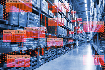 Smart retail use augmented reality mixed virtual reality technology to show the data analysis keep track big data when product running out of stock on shelve in smart warehouse.