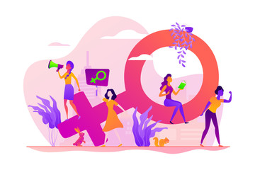 Concept of feminism, girl power, movement, female equality, equal social and civil rights. Colorful vector isolated concept illustration with tiny people and floral elements. Hero image for website.