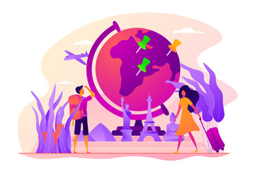 Traveling the world, worldwide adventure, around the world trip concept. Colorful vector isolated concept illustration with tiny people and floral organic elements. Hero image for website.