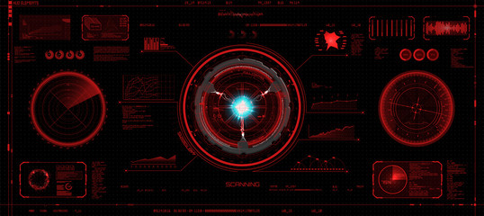 Head-Up Interface set in HUD style, Futuristic elements of red color (space, dashboard, hologram, spaceship, medicine, finance) Hud vector set