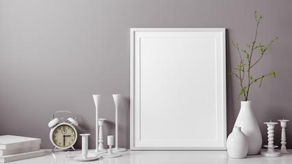 3D Rendering von weissem und leerem Foto oder Bilderrahmen vor grauer Wand als Vorlage mit Vase und Kerzenständer als Dekoration im Zimmer oder Raum zu Hause mit Textfreiraum