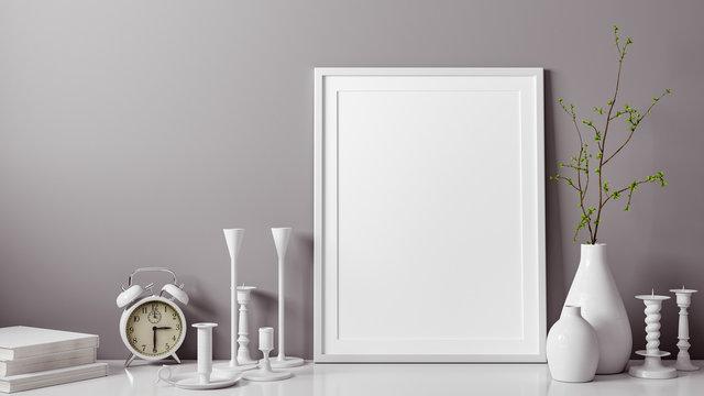 3D Rendering von weissem mockup und leerem Foto oder Bilderrahmen vor grauer Wand als Vorlage mit Vase und Kerzenständer als Dekoration im Zimmer oder Raum zu Hause mit Textfreiraum