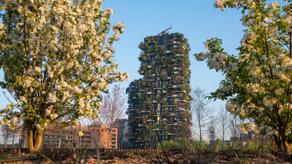 Tuinposter Milan The skyscraper named Bosco Verticale or Vertical Forest in spring time, sustainable architecture in Porta Nuova district, Milan, Italy.