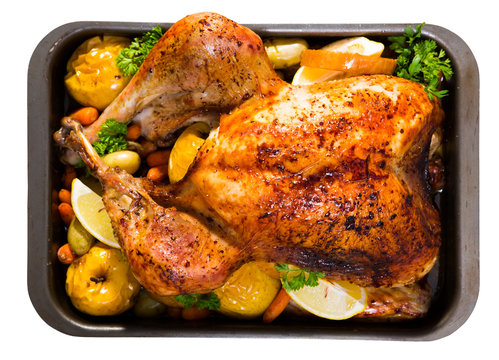 Turkey baked with vegetables and apples