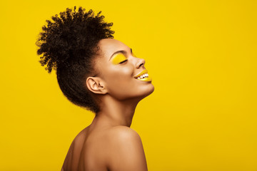 Excitement African American Fashion Model profile portrait . Satisfied Brunette young woman with...