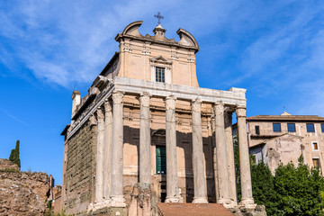 Ancient Roman Temple  - A front closeup view of the 2nd-century Roman Temple of Antoninus and Faustina, later converted to a Roman Catholic church named as San Lorenzo in Miranda, in Roman Forum.
