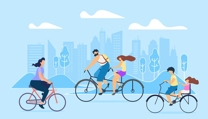 City Active Lifestyle. People Ride on Bicycles.