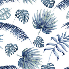 Seamless Pattern of Watercolor Tropical Leaves