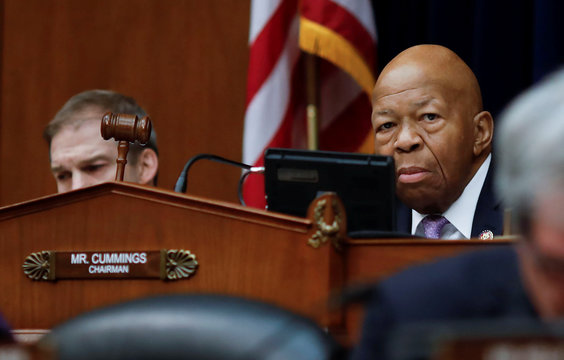 House Oversight and Reform Committee Chairman Cummings wields gavel as committee votes on White House security clearances on Capitol Hill in Washington