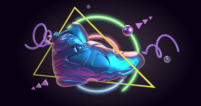 3D Render, future tennis synthwave retro fashion back to the 80's