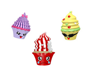 lustige Kawaii Character als Cupcakes. 3d render