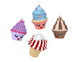 lustige Kawaii Character als Cupcakes beim Eis essen. 3d render