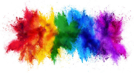 Foto op Textielframe Vormen colorful rainbow holi paint color powder explosion isolated white wide panorama background