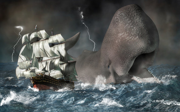 A giant sperm whale chases a ship through stormy seas.  It's time for the ocean's revenge against the sailors who've hunted too many of the marine mammals. 3D illustration