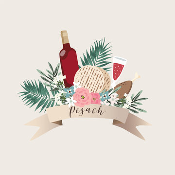Jewish holiday Pesach, Passover greeting card. Hand drawn ribbon banner with bottle of wine, matzo bread, palm leaves, olive branches and flowers. Kosher food and drink. Vector illustration background