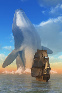 A supernaturally large humpback whale emerges from the sea infront of a pirate ship.  This is no regular marine mammal but a leviathan up from the depths that terrifies sailors. 3D illustration