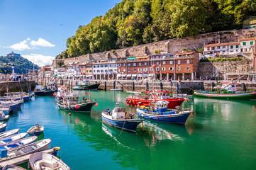 Fototapeta premium Port rybacki Donostia-San Sebastián z łodziami i błękitnym niebem