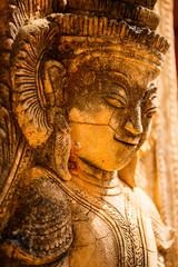 Close up details of Shwe Indein pagoda in Myanmar