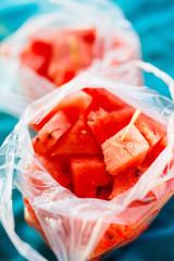 Fresh watermelon pieces