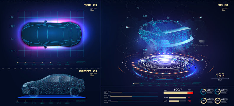 Future car in abstract style on blue background. Futuristic vector HUD GUI UI interface screen design. Automotive technology concept. Hologram of the car, scanning, auto service, mechanisms, service.