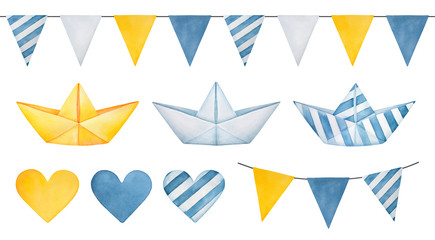 Large illustration collection of pennant banner garland, cute paper boats, various hearts and triangle flags. Hand drawn water color graphic drawing on white background, clipart for design decoration.