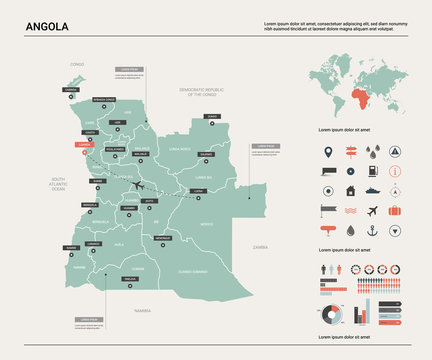 Vector map of Angola .  High detailed country map with division, cities and capital Luanda. Political map,  world map, infographic elements.