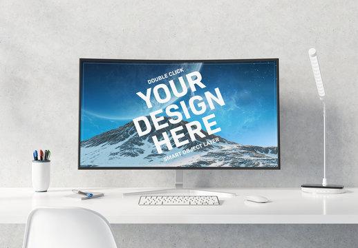 Curved Monitor on White Desktop Mockup