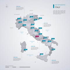 Italy vector map with infographic elements, pointer marks.