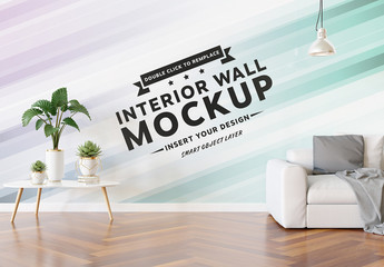 Blank Wall in Living Room Mockup