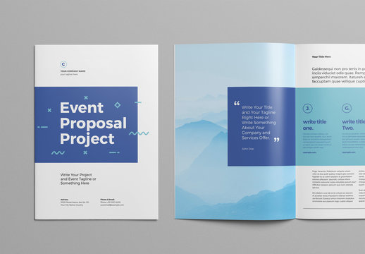 Event Proposal Layout with Blue Accents