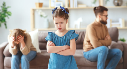 family quarrel divorce parents and child swear, conflict