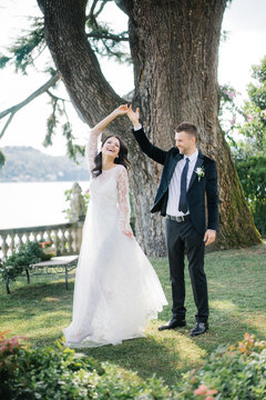 Beautiful wedding couple on coast