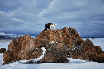 Dog and Woman in the Eastern Sierra