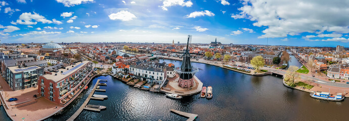 Aerial view of windmill in Haarlem, Netherlands Fototapete