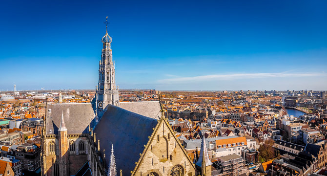 Aerial view of medieval cathedral in Haarlem, Netherlands