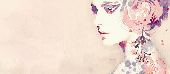 Watercolor abstract portrait of girl. Fashion background.
