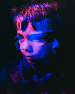 Double exposure face of boy