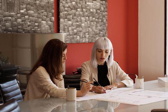 Elegant women working on project
