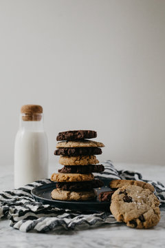 Cookies with Milk on plate with linens