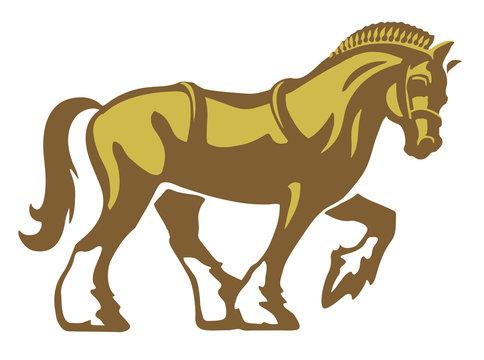 Shire Horse or Draft Horse or Heavy Horse, vector logo illustration