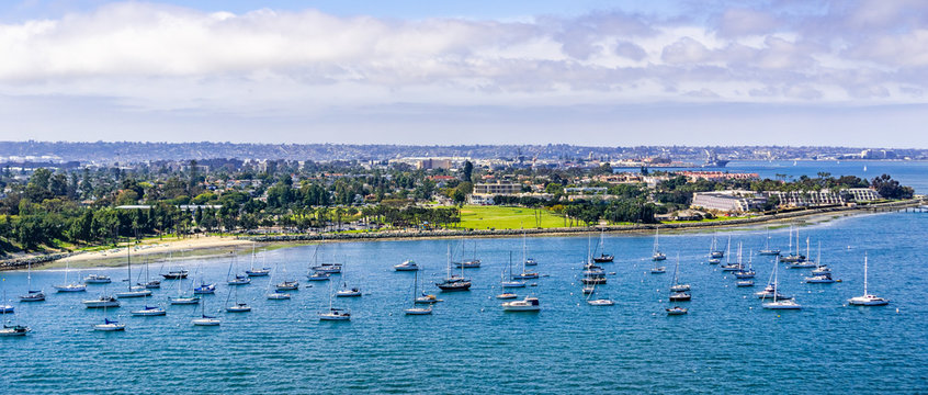 Ships moored off the coast of Coronado Island, San Diego, south California