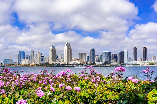 Panoramic view of the downtown San Diego skyline taken from Coronado Island, California