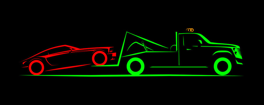 partial loading tow truck simple side view schematic image on black background
