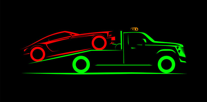 tow truck with full loading simple side view schematic image on black background