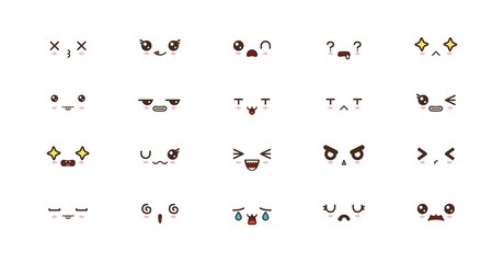 Kawaii cute faces smile emoticons. Japanese emoji Fotoväggar